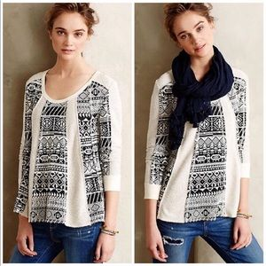 Lilka for Anthropology Geo-Jacquard Pullover